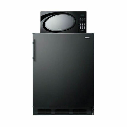 Summit 24 - Inch 5.1 Cu. Ft. Black Compact Refrigerator - Freezer with Microwave (Model: MRF663B)