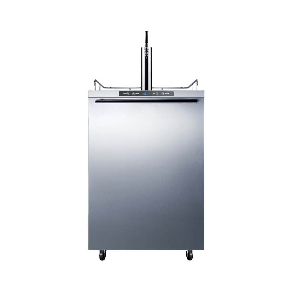 Summit 24 - Inch 5.6 Cu. Ft. Mobile Stainless Steel Single Tap Outdoor Beer Kegerator (Model: SBC635MOS7HH)