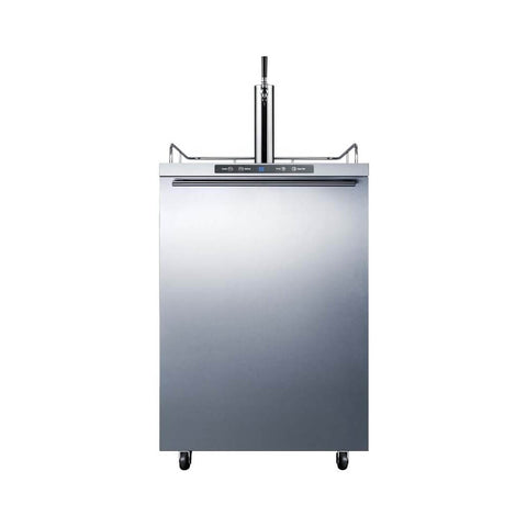 Image of Summit 24 - Inch 5.6 Cu. Ft. Mobile Stainless Steel Single Tap Outdoor Beer Kegerator (Model: SBC635MOS7HH)