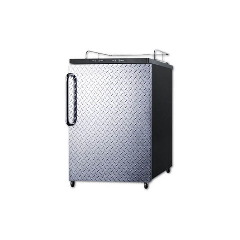 Image of Summit 24 - Inch 5.6 Cu. Ft. Built- in Stainless Steel Diamond Plate Door Beer Kegerator - No Tap Kit (Model: SBC635MBINKDPL)