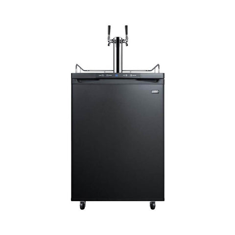 Summit 24 - Inch 5.6 Cu. Ft. Commercial Portable Black Double Tap Beer Dispenser (Model: SBC635M7TWIN)