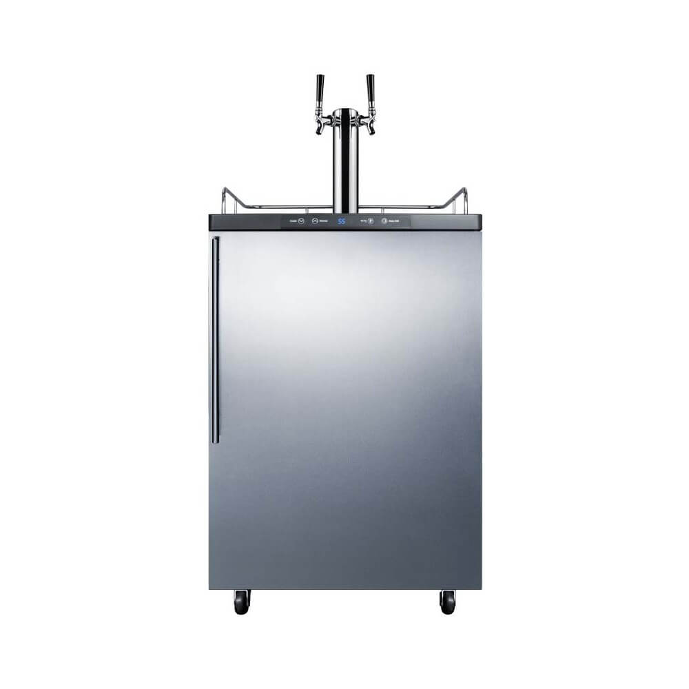 Summit 24 - Inch 5.6 Cu. Ft. Freestanding Commercial Stainless Steel Dual Tap Beer Dispenser (Model: SBC635M7SSHVTWIN)