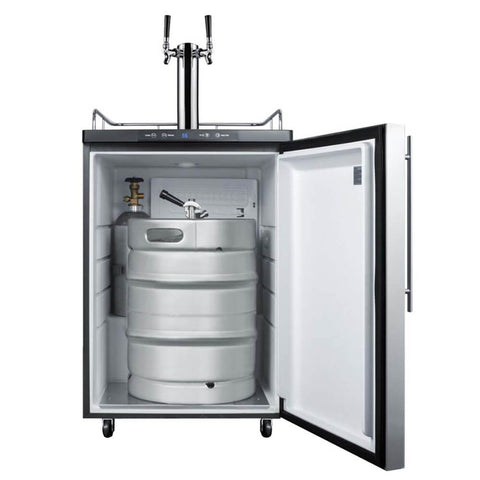 Summit 24 - Inch 5.6 Cu. Ft. Freestanding Commercial Stainless Steel Double Tap Beer Dispenser (Model: SBC635M7SSHVTWIN)