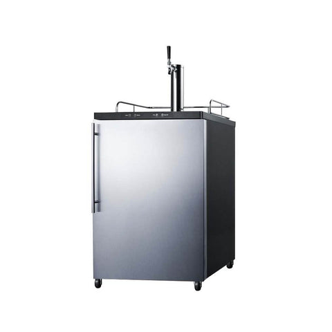 Summit 24 - Inch 5.6 Cu. Ft. Freestanding Commercial Stainless Steel Single Tap Beer Dispenser (Model: SBC635M7SSHV)