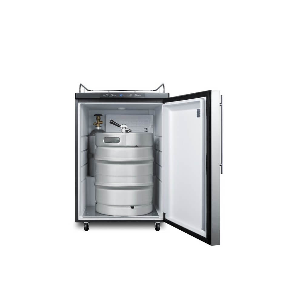 Summit 24 - Inch 5.6 Cu. Ft. Mobile Commercial Stainless Steel Beer Dispenser - No Tap Kit (Model: SBC635M7NKSSHH)