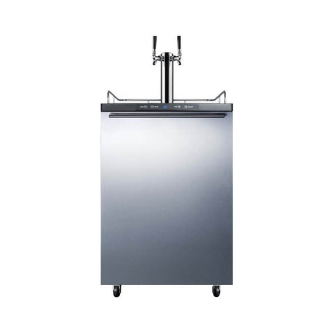 Summit 24 - Inch 5.6 Cu. Ft. Mobile Commercial Stainless Steel Double Tap Beer Dispenser (Model:SBC635M7SSHHTWIN)