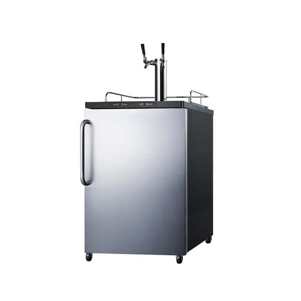 Summit 24 - Inch 5.6 Cu. Ft. Portable Stainless Steel Commercial Double Tap Beer Dispenser (Model: SBC635M7SSTBTWIN)