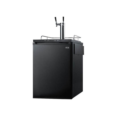 Image of Summit 24 - Inch 5.6 Cu. Ft. Built - in Black Double Tap Beer Dispenser (Model: SBC635MBITWIN)