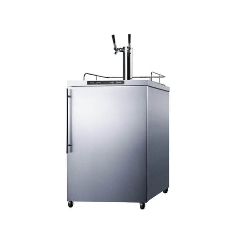 Image of Summit 24 -  Inch 5.6 Cu. Ft. Commercial Outdoor Stainless Steel Dual Tap Beer Kegerator ( Model: SBC635MOS7HVTWIN)