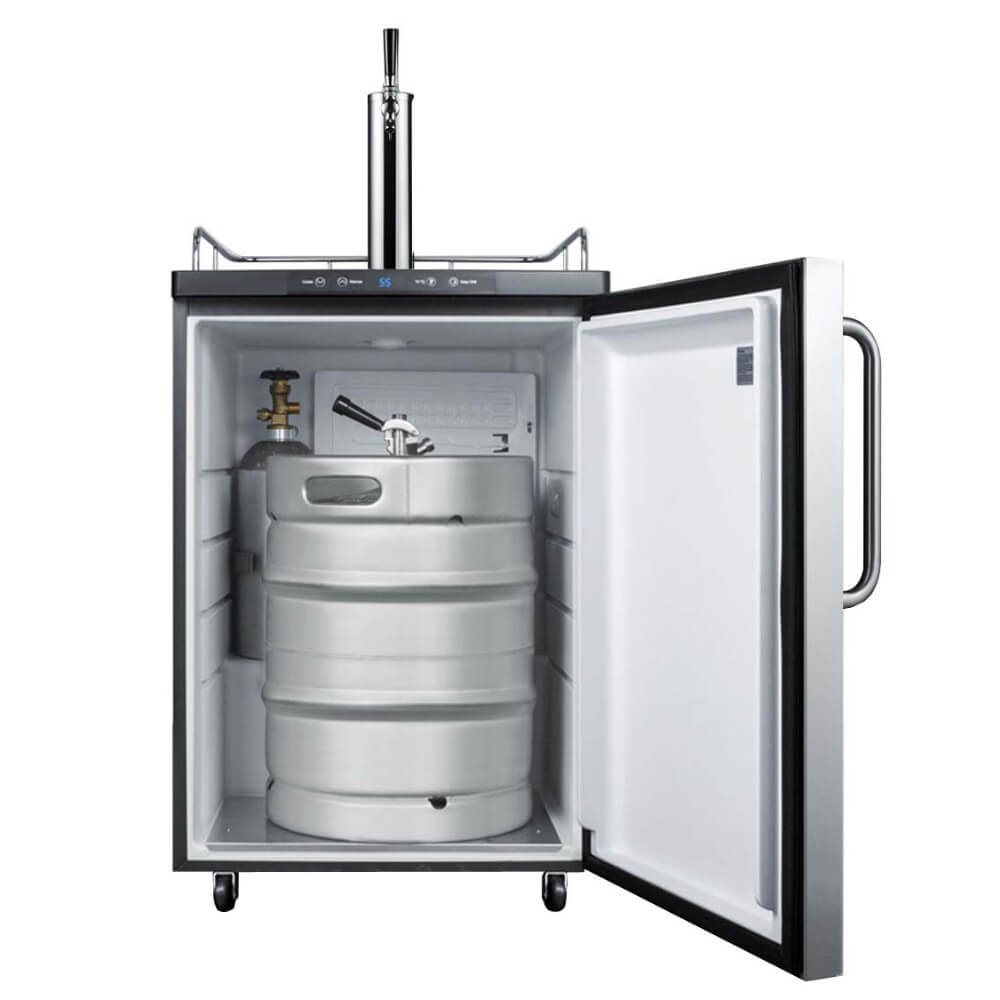 Summit 24 - Inch 5.6 Cu. Ft. Commercial Stainless Steel Built - In Single Tap Beer Kegerator (Model: SBC635MBI7SSTB)