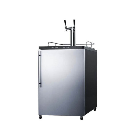Image of Summit 24 - Inch 5.6 Cu. Ft. Freestanding Stainless Steel Double Tap Beer Kegerator (Model: SBC635MSSHVTWIN)