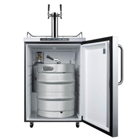 Image of Summit 24 - Inch 5.6 Cu. Ft. Mobile Stainless Steel Double Tap Outdoor Beer Kegerator (Model: SBC635MOS7TWIN)
