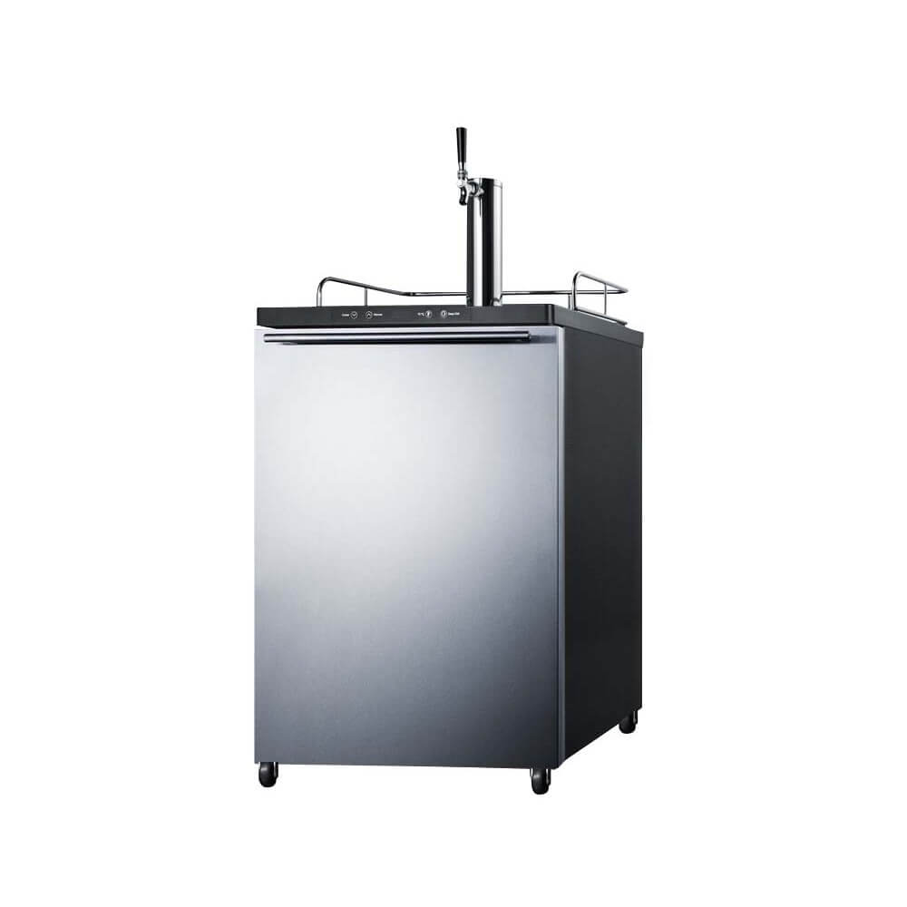 Summit 24 - Inch 5.6 Cu. Ft. Mobile Stainless Steel Single Tap Beer Kegerator (Model: SBC635MSSHH)
