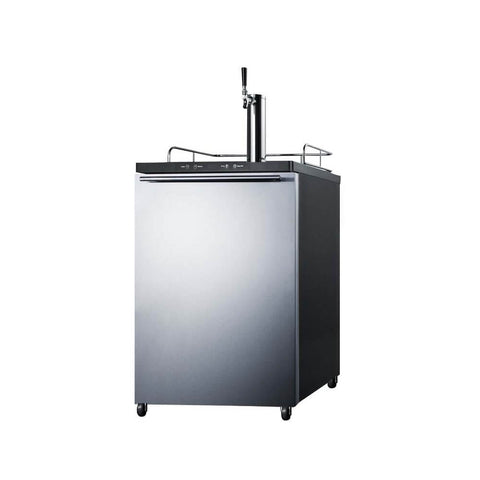 Image of Summit 24 - Inch 5.6 Cu. Ft. Mobile Stainless Steel Single Tap Beer Kegerator (Model: SBC635MSSHH)