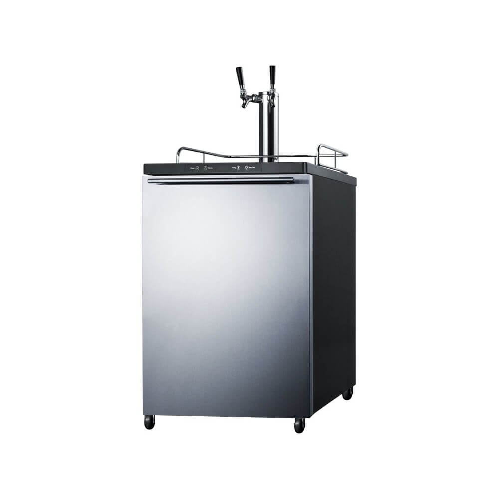 Summit 24 - Inch 5.6 Cu. Ft. Under Counter Built - in Stainless Steel Outdoor Dual Tap Beer Kegerator (Model: SBC635MBISSHHTWIN)