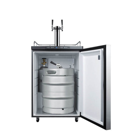Image of Summit 24 - Inch 5.6 Cu. Ft. Under Counter Built - in Stainless Steel Outdoor Dual Tap Beer Kegerator (Model: SBC635MBISSHHTWIN)