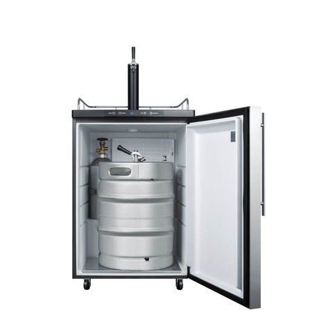 Image of Summit 24 - Inch 5.6 Cu. Ft. Under Counter Built - in Stainless Steel Outdoor Single Tap Beer Kegerator (Model: SBC635MBISSHH)