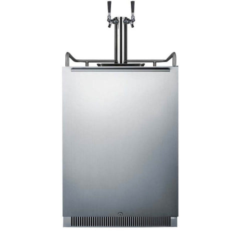 Image of Summit 24-Inch 6.5 Cu. Ft. Stainless Steel Double Tap Beer Kegerator (Model: SBC677BITWIN)