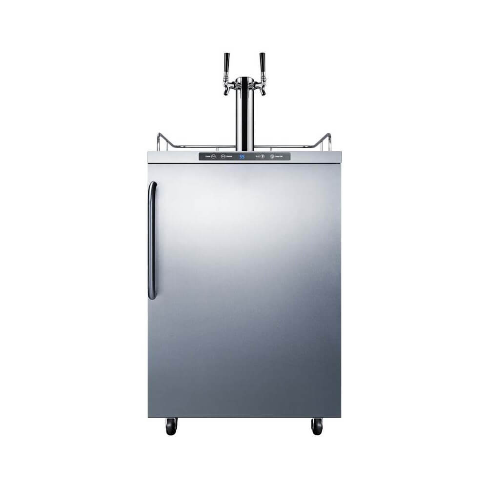 Summit 24 - Inch 5.6 Cu. Ft. Stainless Steel Freestanding Outdoor Dual Tap Beer Kegerator (Model: SBC635MOSTWIN)