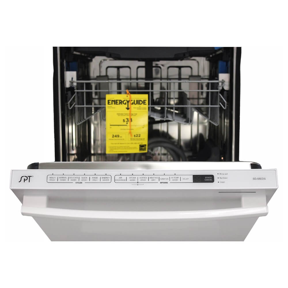 "Sunpentown 24"" Built-In White Tall Tub Dishwasher w/ Smart Wash System & Heated Drying (SD-6502W)"