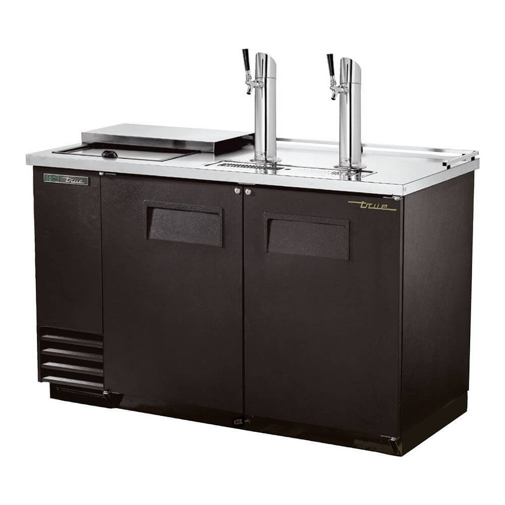"True Direct Draw 59"" Black Swing Door Club Top Double Keg Beer Dispenser (TDD-2CT-HC)"