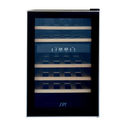Image of Sunpentown Dual-Zone Thermo-Electric 24-Bottles Wine Cooler with Wooden Shelves (Model: WC-2463W)