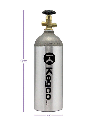Image of Kegco 5 lb. Aluminum Co2 Tank for Kegerator and Draft Beer Dispensing (Model: BF C5)