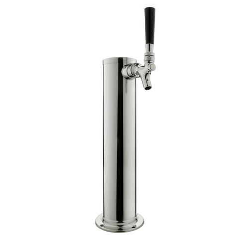 "14"" Tall Polished Stainless Steel 1-Faucet Draft Beer Tower - Standard Faucets (Model:DT145-1S)"