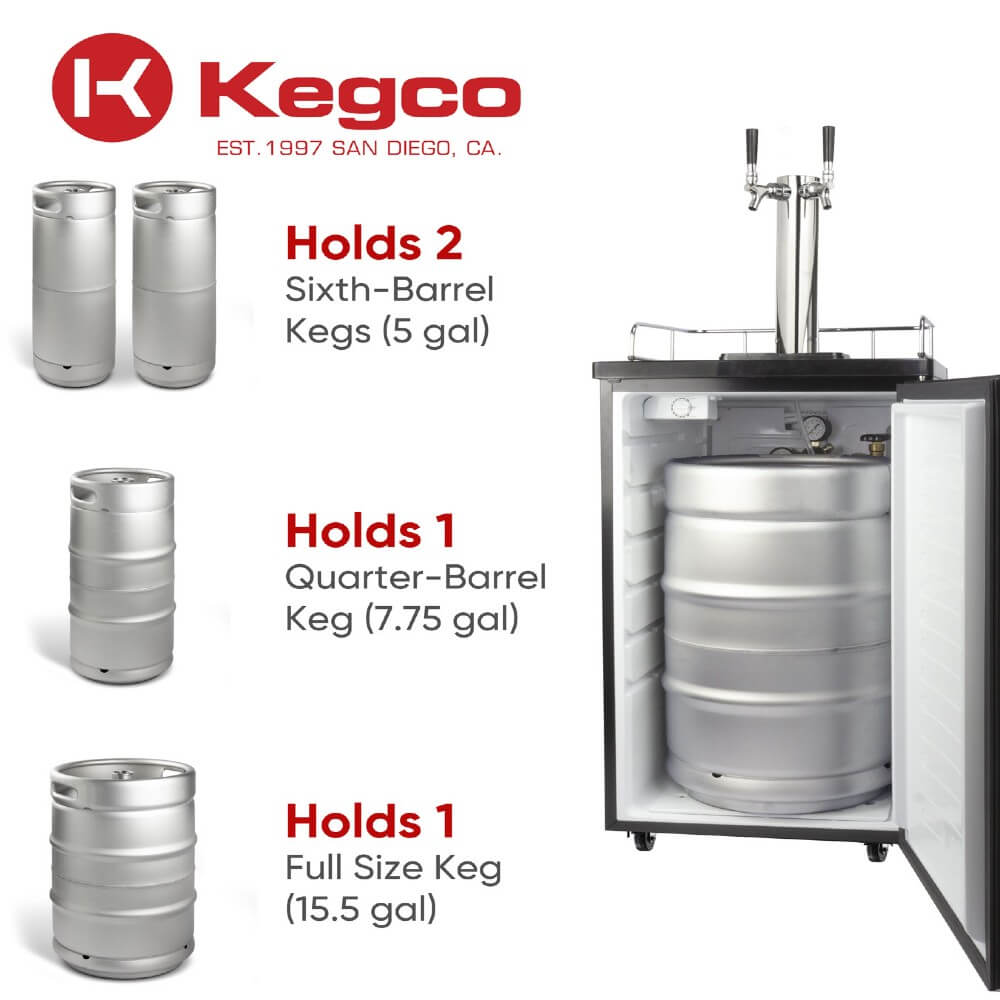 kegco ICK19S-2NK Wide Freestanding Indoor Dual Tap Cold Brew Coffee Kegerator