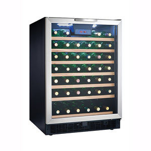 Danby Designer 50-Bottle Stainless Steel Wine Cooler with LED Lighting (DWC508BLS)