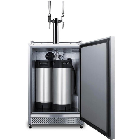 Image of Summit 24-Inch 6.04 Cu. Ft. Commercial Stainless Steel Outdoor Double Tap Nitro Brew Coffee Dispenser (Model: SBC695OSNCFTWIN)