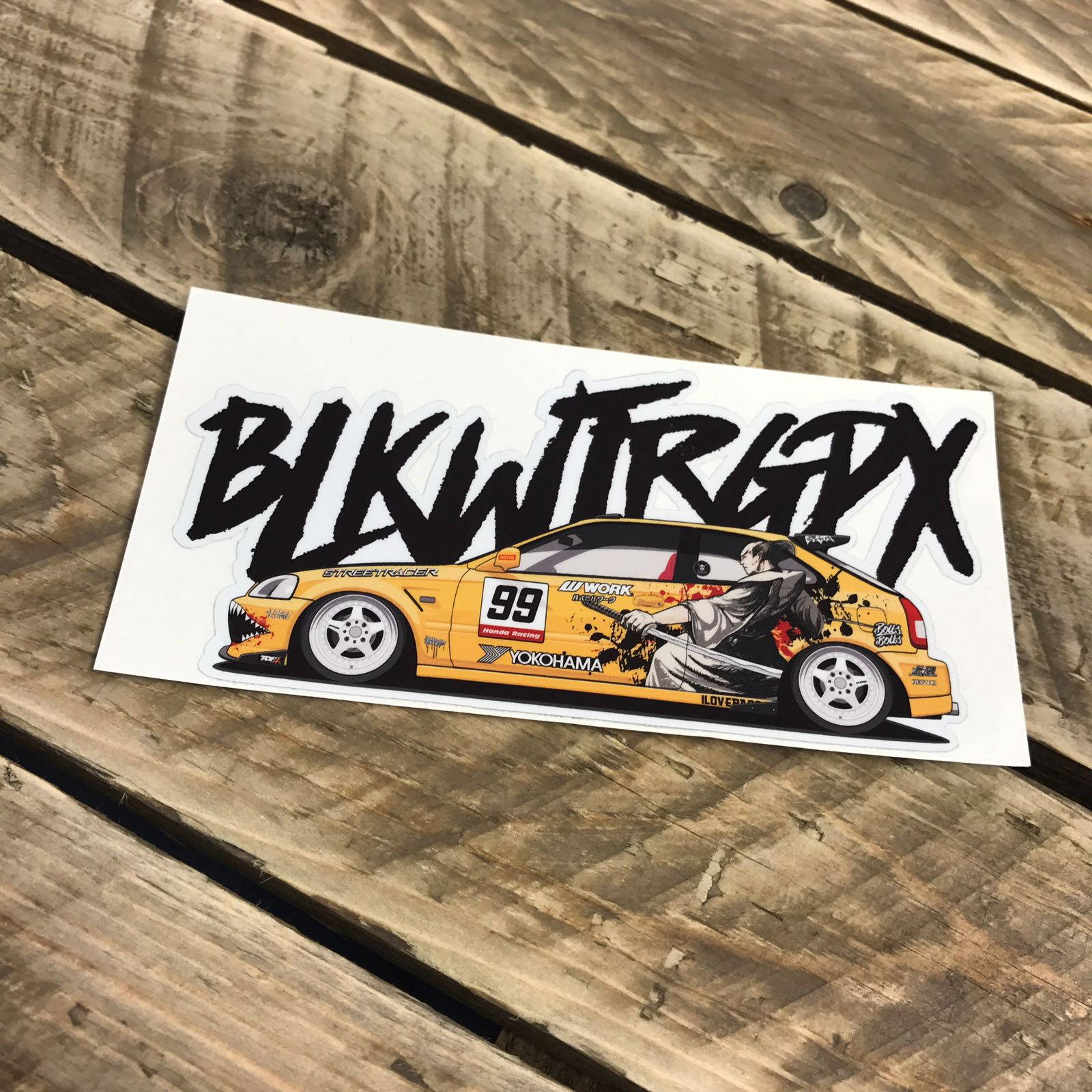 BLKWTRGPX Yellow Civic Sticker