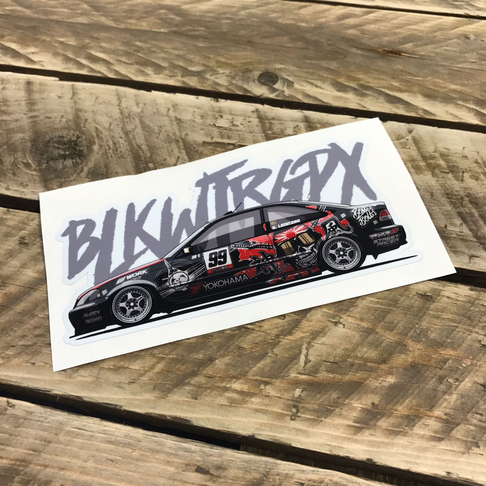 BLKWTRGPX Black Civic Sticker