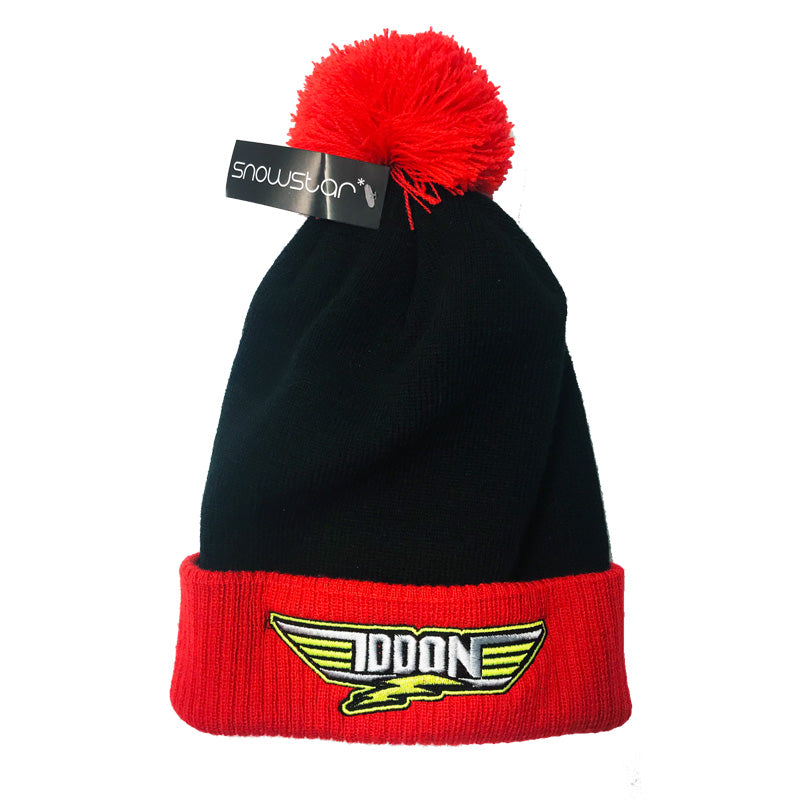 Christian Iddon Black and Red Bobble Hat