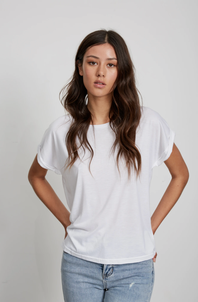 Little Lies basic Roll Sleeve Tee - White