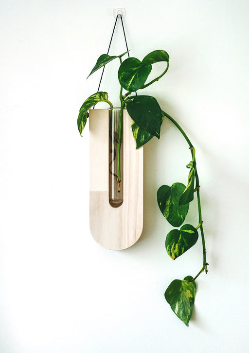 Timber wall hanger - Drop, White