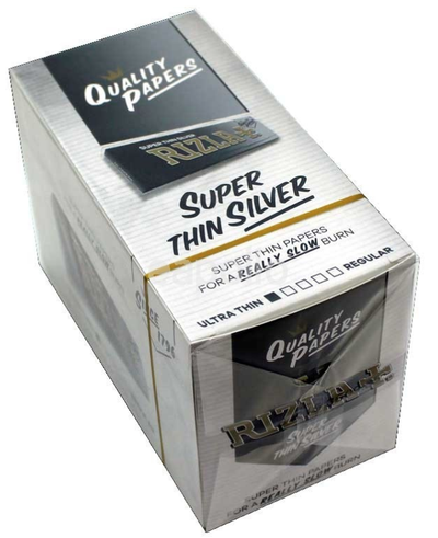 Rizla Super Thin Silver single wide size 70mm*36mm x 100