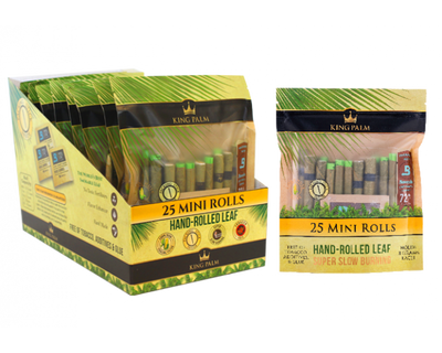 King Palm 25 Mini Rolls / Pouch - 8 Units Per Display Box