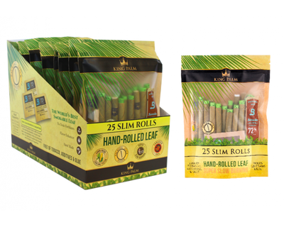 King Palm 25 Slim Rolls / Pouch - 8 Units Per Display Box