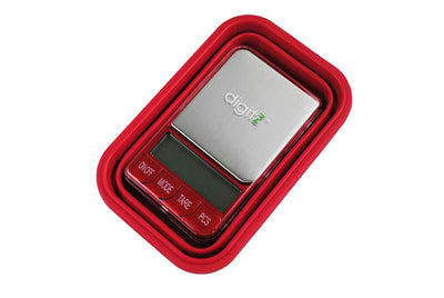 DigitZ Digital Collapsible Silicone Bowl Scale, Red, 200 x 0.01g (TRAP-200)