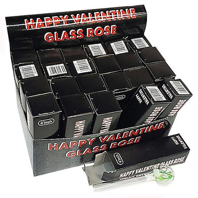 HAPPY VALENTINE GLASS PIPE 4inch 24pcs display case