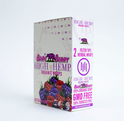 High Hemp Organic Wraps Bare Berry 25packs box