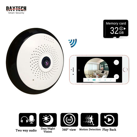 Wireless WiFi IP Camera Home Surveillance 360 Degree View 32 GB Memory Card