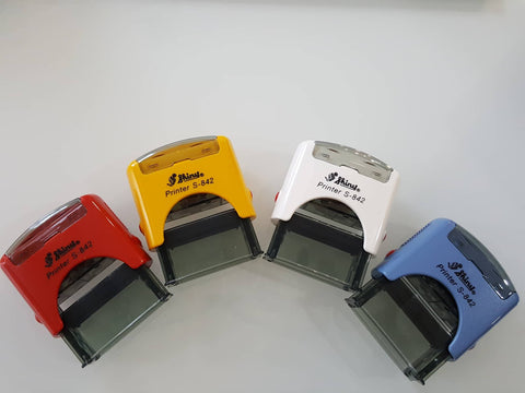 S-842 Shiny Self-Inking Rubber Stamp Up to 3 Lines of Custom Text