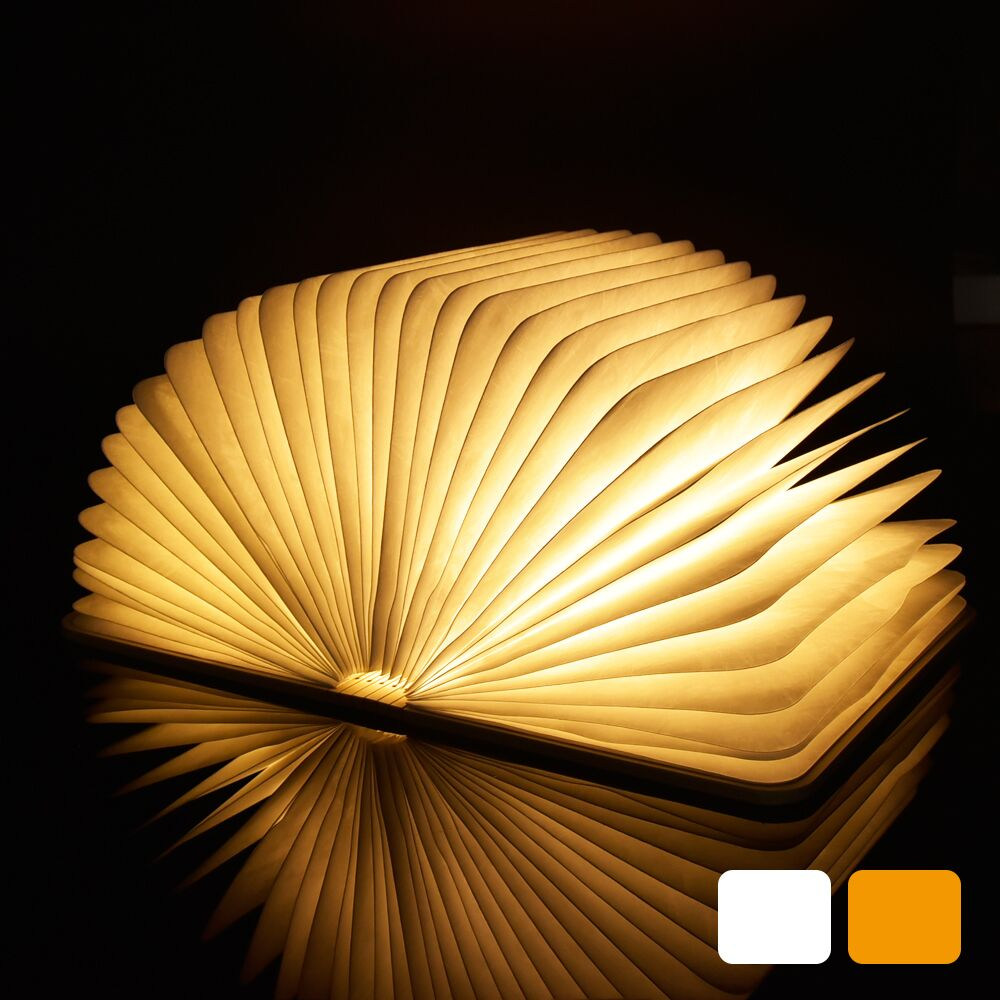 Book LED Night Light Folding Book Light USB Port Rechargeable Wooden Magnet Cover