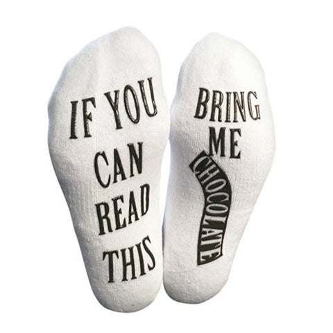 If you can read this bring me chocolate! White Printed  Funny Socks