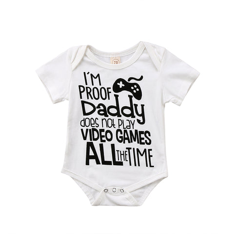 Im proof Daddy does not play video games all the time funny baby bodysuit