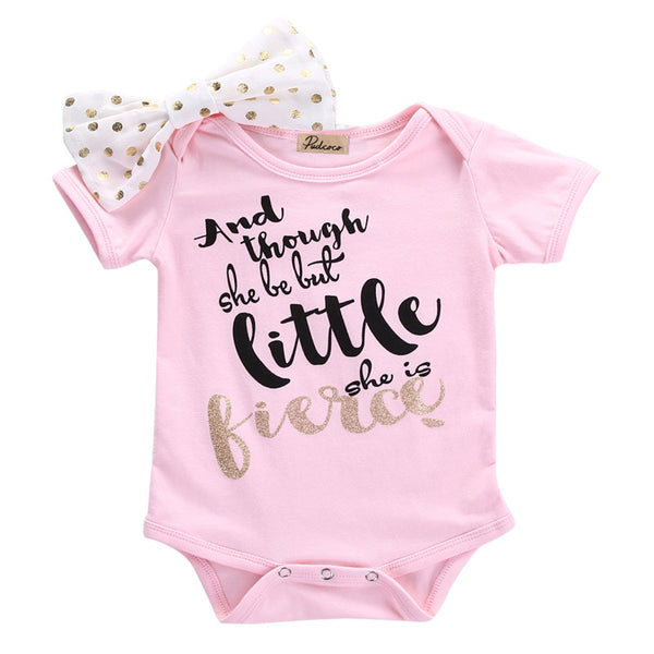 Little but fierce pink baby girls bodysuit