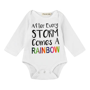 After every Storm comes a rainbow long sleeve baby bodysuit