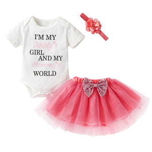 I'm my Daddy's girl and my Mommy's world 3 piece pretty outfit